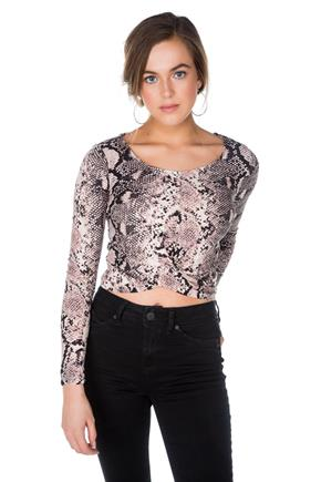 Snakeskin Print Crop Top with Twisted Hem