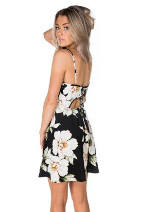 Floral Ivory Skater Dress with Lace-Up Back