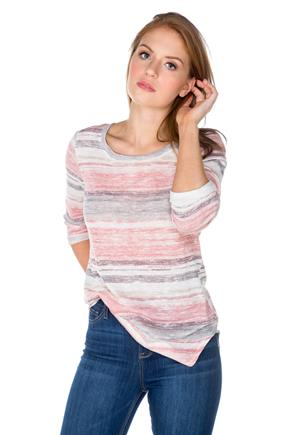 Lightweight Stripe 3/4 Sleeve Sweater