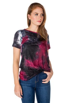 7e7be0c7da740 Tie-Dye Short Sleeve Tunic with Knotted Hem