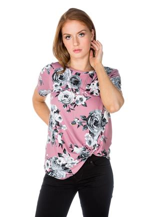 Rose Print Short Sleeve Tunic with Knotted Hem