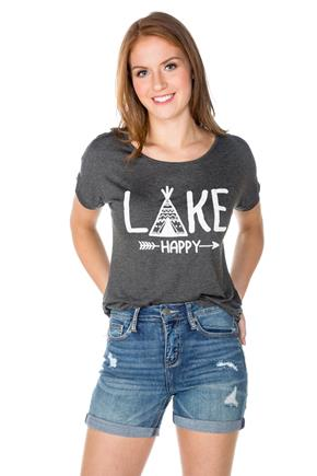 "T-shirt à imprimé ""Lake Happy"""