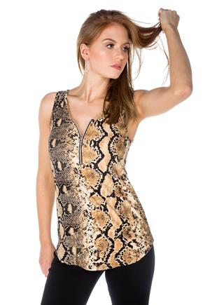 Snakeskin Tank with Front Zipper