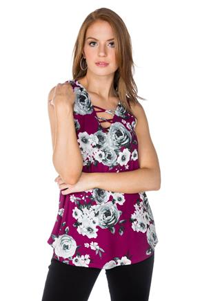 Rose Sleeveless Tunic with Criss Cross Detail