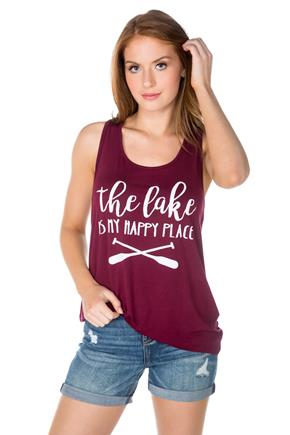 """The Lake is my Happy Place"" High Low Graphic Tank"