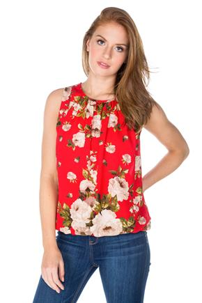 Floral Sleeveless Top with Bubble Hem