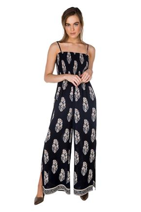 Damask Smocked Wide Leg Jumpsuit