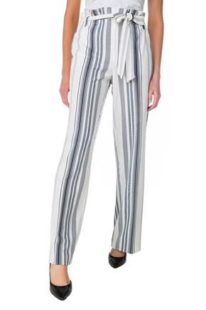 Striped High-Rise Paperbag Wide Leg Pant