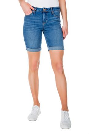 Celebrity Pink Wattue Wash Mid-Rise Bermuda Short with Roll Cuff
