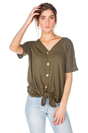 Waffle Short Sleeve Sweater with Buttons and Tie-Front