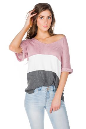 Waffle Colour-Block Short Sleeve V-Neck Tunic