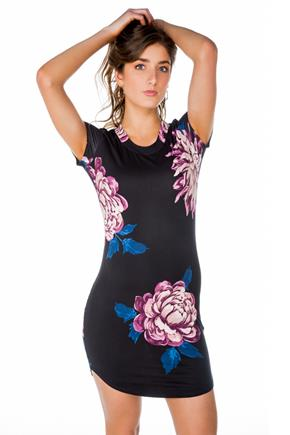 Large Floral Short Sleeve Bodycon Dress with Shirttail Hem