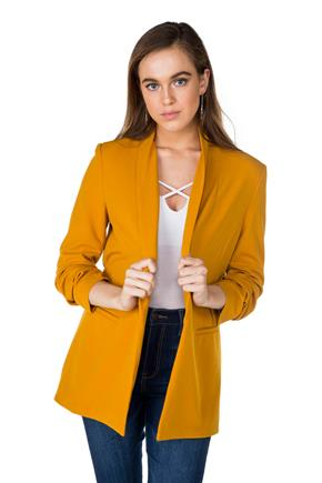 Longline Blazer with Ruched Sleeves