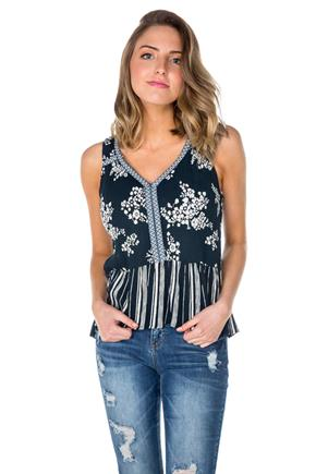 Floral Strip Twin Print V-Neck Top