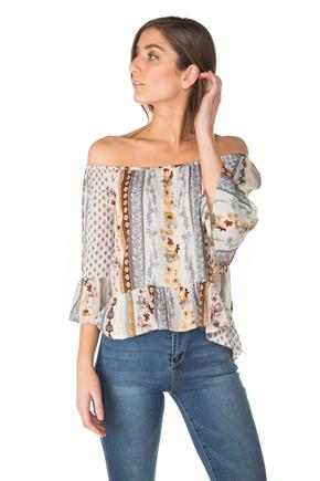 Boho Print 3/4 Sleeve Off-the-Shoulder Top