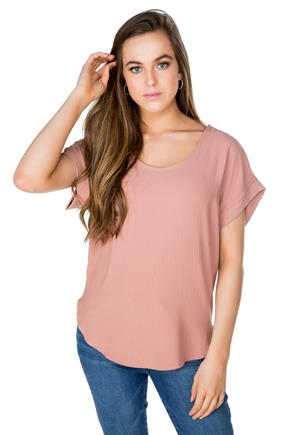Short Sleeve Blouse with Shirttail Hem
