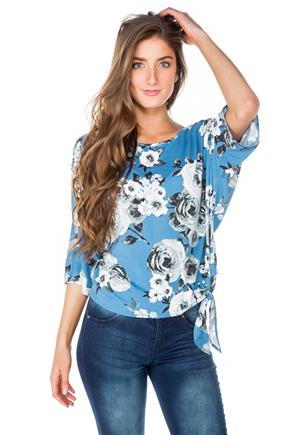 Blue Floral Dolman Top with Side Tie