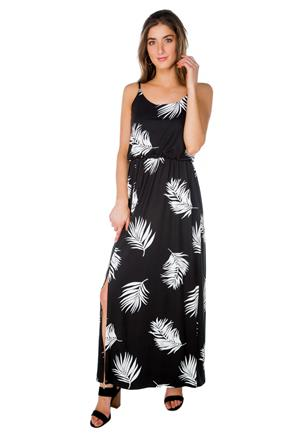 Tropical Leaves Spaghetti Strap Maxi Dress with Side Slit