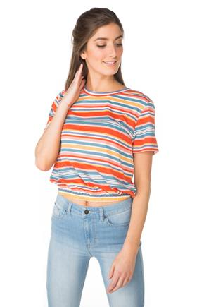 WallFlower Striped Top with Elastic Hem