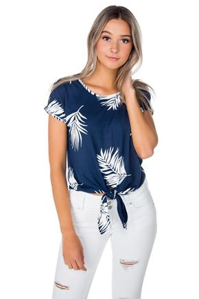 Tropical Leaves Cold Shoulder Top with Tie-Front