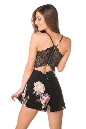 Floral Romper with Lace Zipper Back