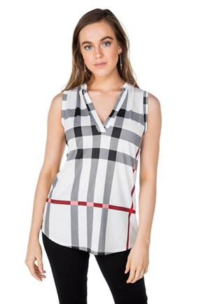 Sleeveless Half-Placket Plaid Shirt