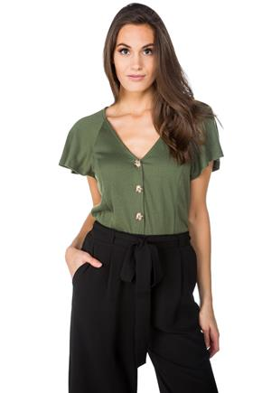Crinkle Knit Button-Front Top with Flutter Sleeves