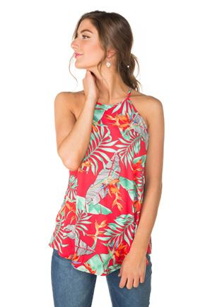 Tropical Floral High Neck Tunic