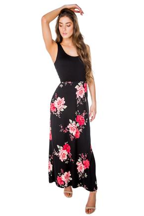 Floral Maxi Dress with Solid Top and Crossover Back