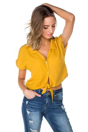 Short Sleeve Tie-Front Blouse