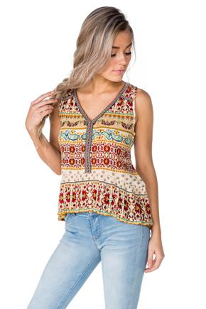 Boho Twin Print Sleeveless Top