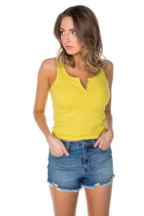 Ribbed Notch Neck Cropped Tank