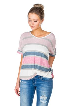 Multi-Stripe V-Neck Top with Rolled Sleeves