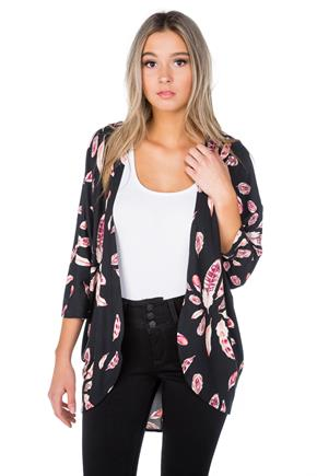 Feather Print Cocoon Cardigan