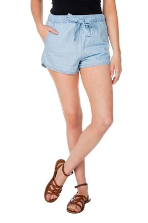 Short Almost Famous en chambray avec cordon coulissant