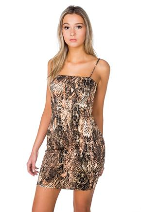 Snakeprint Spaghetti Strap Bodycon Dress