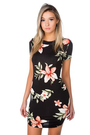 Tropical Floral Bodycon Dress