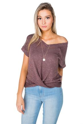 V-Neck Cap Sleeve Top with Twisted Bottom