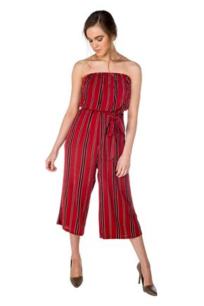 Stripe Strapless Culotte Jumpsuit with Tie-Belt