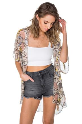 Multi-Colour Animal Print Kimono