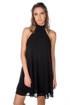 Mock Neck Sleeveless Swing Dress