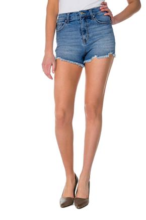 Celebrity Pink Light Wash High-Rise Short with Frayed Hem