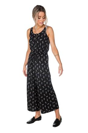 Ditsy Floral Sleeveless Henley Culotte Jumpsuit