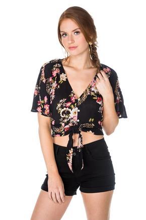 6464a12fa8186 Floral Tie-Front Blouse