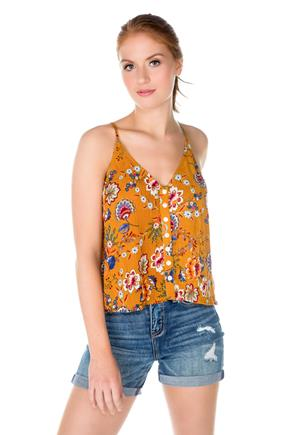 Floral Swing Cami with Shell Buttons
