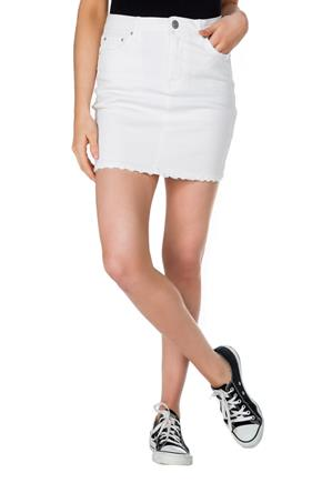 Almost Famous White Skirt with Frayed Hem