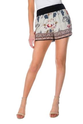 Floral Border Print Short with Picot Trim