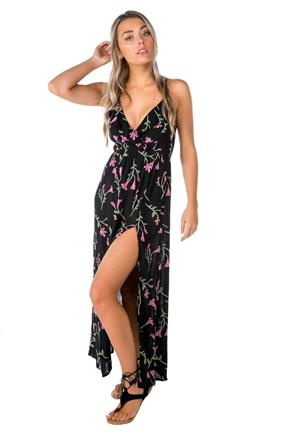 Floral Maxi Dress with Criss Cross Back