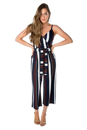 4c1d3b33842a Stripe Crossover Culotte Jumpsuit with Tie-Belt