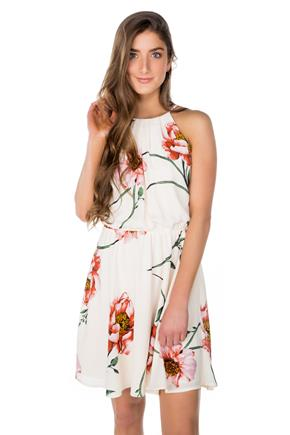 Large Floral Print Dress with Elastic Waist